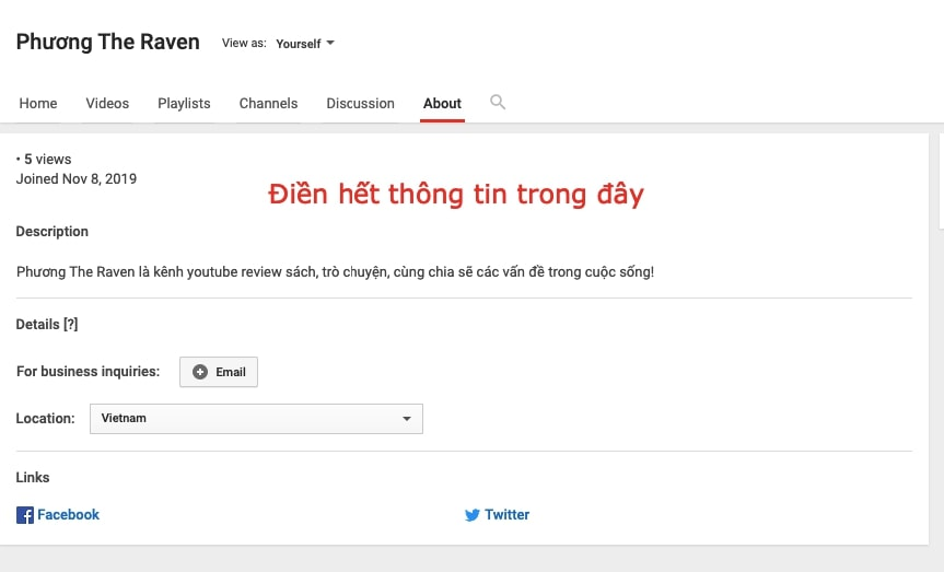 update thong tin youtube